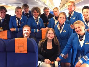 Groepsfoto met de lieve KLM crew!