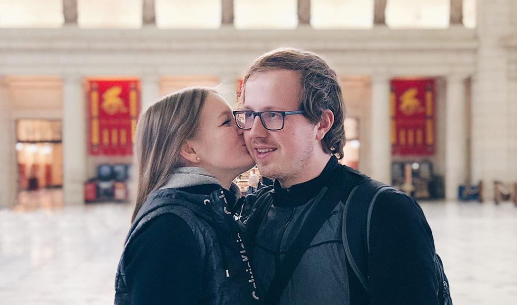 Koen en ik op Union Station Washington DC waar onze rondreis begint